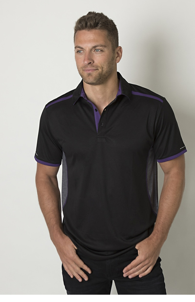 BKP500 Men's Contrast Panel Polo