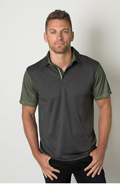 BKP600 Men's Polo with Sublimated Striped Sleeves